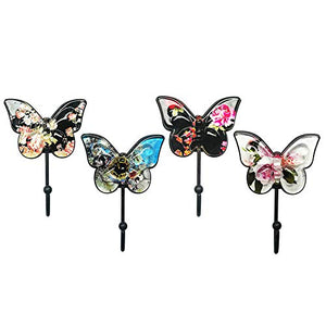 Bolen Decorative Butterfly Wall Hooks Antique Hook Wall Mount Retro Wall Decor for Keys, Jewelry, Clothes, Coat, Towel (Set of 4)