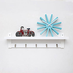 Coat Rack Bamboo Wall Mount Shelf Coat Hook Rack Unibody Construction with Alloy Hooks for Hallway Bedroom,Kitchen,Bathroom and Home Decoration,White,5Hook