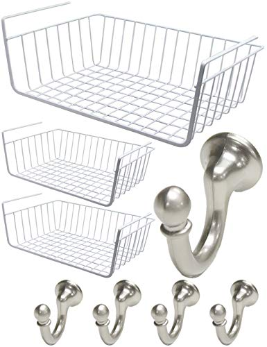 Coat Robe Hooks Hat Purse Belt Hanger Nickel Under Shelf Basket 3PCS Home Rack Bathroom Shelf Sturdy Iron Wire Hanging Storage Living Room Bathroom Organizer Wire Basket Kitchen Pantry Cabinet