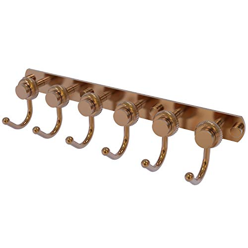 Allied Brass 920T-6-BBR Mercury Collection 6 Position Tie and Belt Rack with Twisted Accent, Brushed Bronze