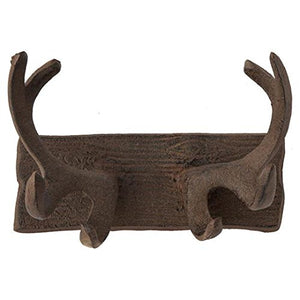 Comfify Vintage Cast Iron Deer Antlers Wall Hooks Antique Finish Metal Clothes Hanger Rack w/Hooks | Includes Screws and Anchors | in Rust Brown | (Antlers Hook CA-1507-24)