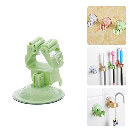 Broom Mop Holder? Traceless Sucker Hook? Wall Door Hanger? Kitchen Bathroom Tool Organizer Suction Cup Storage Rack (Green)