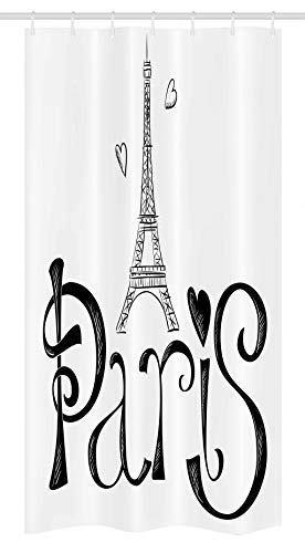 Ambesonne Paris Stall Shower Curtain, Illustration with Eiffel Tower France Heart Shapes Silhouette Vacation Theme Art, Fabric Bathroom Decor Set with Hooks 36 W x 72 L inches, Black White