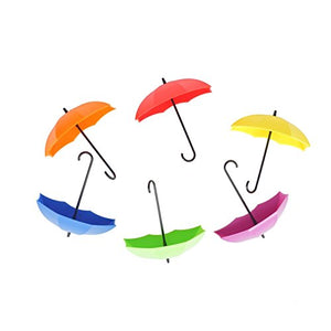 6 PCS Colorful Umbrella Wall Rack Wall Key Holder Key Organizer for Keys, Jewelry and Other Small Items