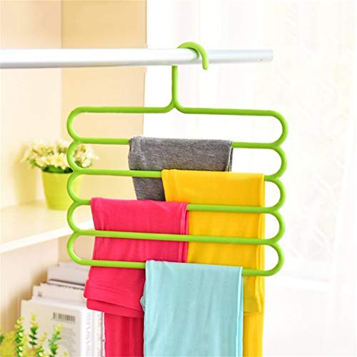 Anti-Slip Magic Multiple Layer Trousers Hanger Multifunction Pants Closet Belt Holder Rack S-Type 5 Layers Saving Space