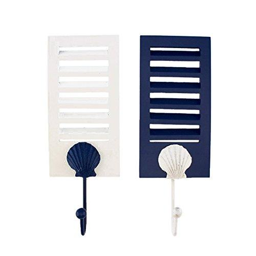 2 Wood Shutter Frame Towel Wall Hooks With Seashell Accent