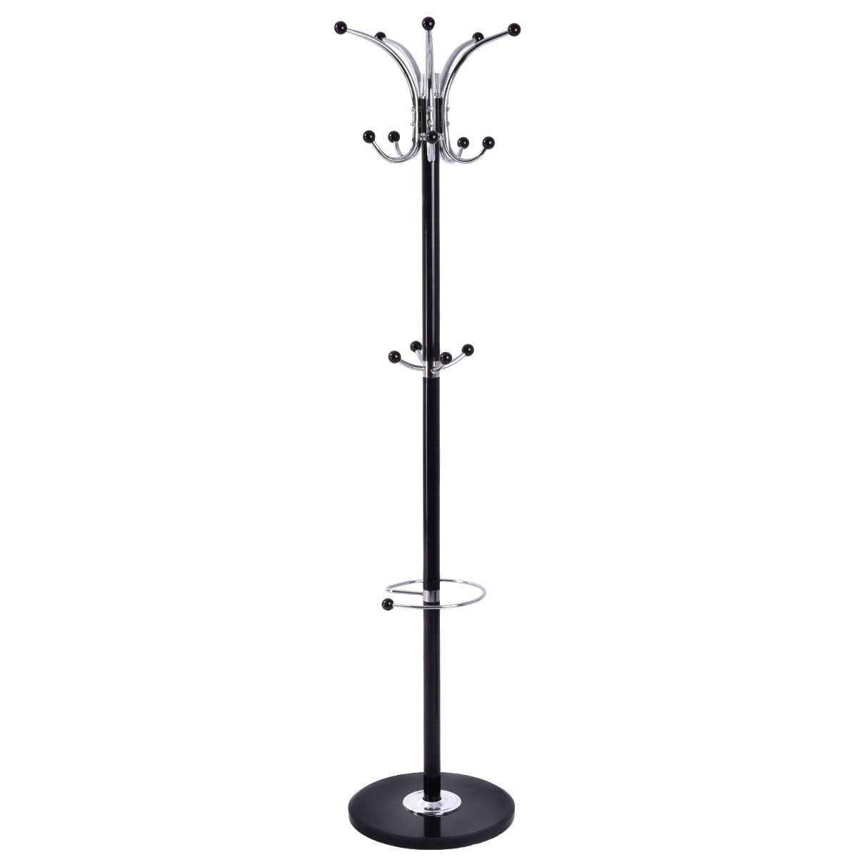 "67""Metal Coat Rack Jacket Stand Tree Umbrella Holder Hanger Marble Base W/15 Hooks"