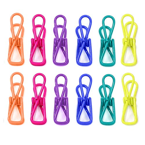 6 Color Durable Steel Wire Clothespins Chip Bag Clip Document Holder Mail Organizer PVC-Coated All Purpose Travel Home Office Non-Slip Anti-Rust Reusable (Blue Orange Teal Yellow Pink Purple)-12 PCS