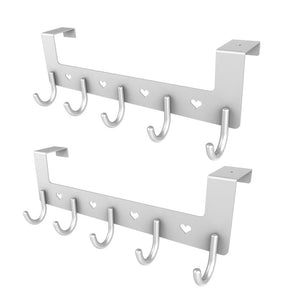 2 Packs Dosens Over The Door Organizer Rack, Metal Coat Hanger with 5 Hooks - Silver