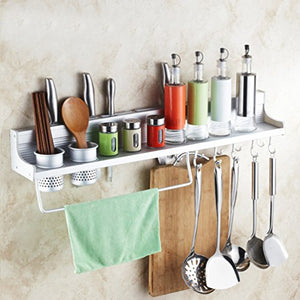 Creative Home Wall Mounted Kitchen Spice Rack w/Utensil/Pot/Pan Hanger Hooks, Silverware Caddy, Knife Slots (60cm-2 cups)