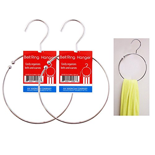 2 Ring Hanger Hole Design Scarf Belt Tie Closet Organizer Holder Hook Towel Hang