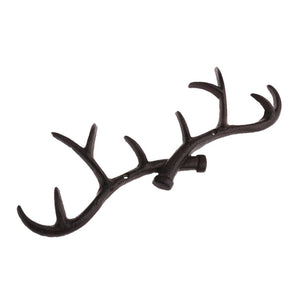 Baoblaze Chic Cast Iron Deer Antlers Wall Hooks Strong Coat Towel Clothes Hat Key Hanger Holder, Xmas Gift Home Decoration - Brown