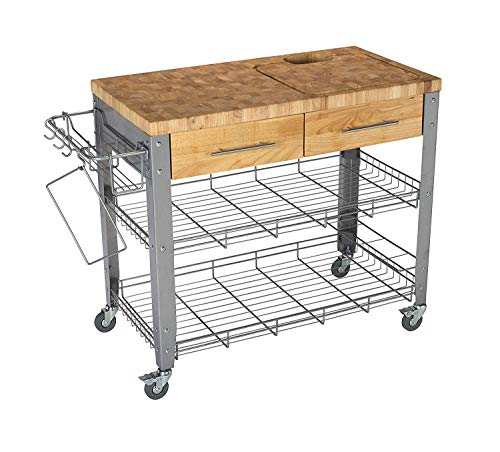 Chris & Chris Rolling Kitchen Island - Food Prep Table - Durable Cutting Surface, Juice Groove and Collection Pan - 2 Storage Drawers , Condiment Rack and 2 Wire Shelves, Natural