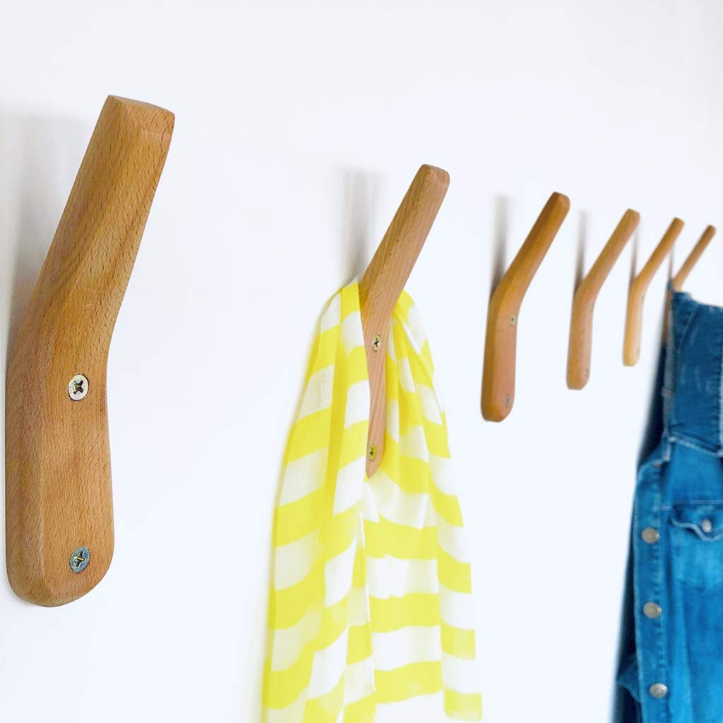 Coat Rack Hooks Wall Mounted Handmade Natural Beech Wood Hook (Pack of 2) Modern Wooden Hat Rack Entryway Organizer Bathroom Hanger Rustic Craft UMZi Towel Hangers Home and Kitchen Use Pegs(Pack of 2)