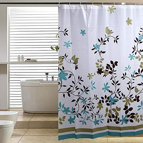 Blu-Pier Decorative PEVA Mildew Free Water Repellant Shower Curtain 72x72 Comes With 12 Hooks (Blue Stripe)