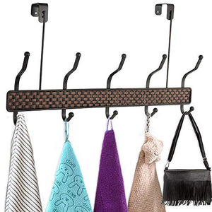Coat Towel Hooks 5 Double Hook Rack Bronze Weaved design two tone (OVER DOOR) By Decor Hut
