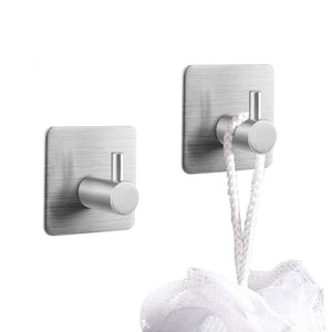 2 Pack of Self Adhesive Hooks, Stainless Steel Wall Mounted Sticky Racks Tea Towel Holder Robe Coat Hat Hook Hanger Heavy Duty Waterproof and Oilproof for Kitchen Bathroom Lavatory , 3M Stick Hook