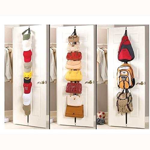 2 Row CapRack 16 Hooks Cap Hat Bag Storage Clothes Coat Holder Rack Organizer Over Door Straps Hanger