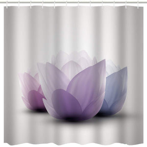 BROSHAN Omber Shower Curtain Flower Design, Modern Lotus Blossom Purple and White Abstract Art Print, Yoga Fabric Waterproof Bathroom Decor Set with Hooks, 72 Inches Long