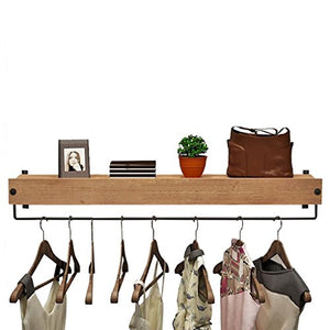 Coat Racks Wall Mount Wooden Retro Wall Display Stand for Home Clothing Store, Coat Rack,Men and Women Hangers (Size : 120cm)