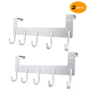 Over The Door Hook Hanger,Rongyuxuan 2 Pack Aluminum Heavy Duty Organizer for Coat Clothes Towel Bag Robe -5 Hooks,Wall Mount Tool Holder for Home Storage Organizer