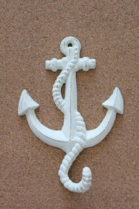 White Shabby Chic Anchor hook  beach wall decor. Towel hook Nautical hook 8 pk