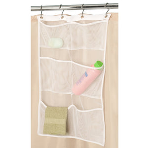NANAN Mesh Shower Caddy,Quick Dry Hanging Bath Organizer with 6 Pockets, Hang on Shower Curtain Rod/Liner Hooks, Shower Organizer,Mesh Shower Organizer,White, 23.5inch x14inch(60cm x35cm)