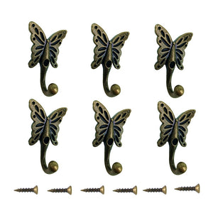 6 Pcs Vintage Butterfly Coat Hook,Wall Mounted Hanger Hooks Bathroom Hat Coat Clothes Handbag Towel Wall Door Vintage