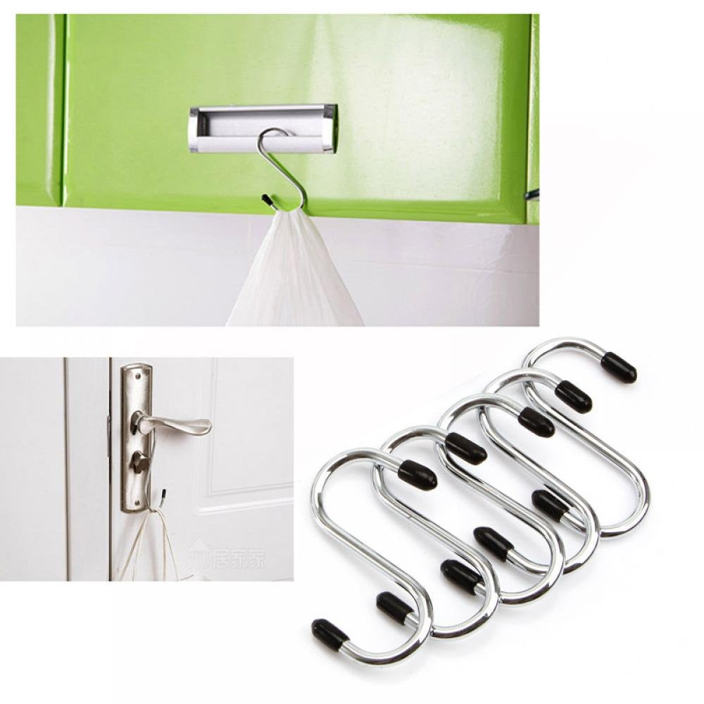 NAOAO S Shaped Hooks Hangers Powerful Stainless Steel 4PCS Hook Heavy Duty Hanging Hooks for Pots and Pans, Plants, Utensils, Towels