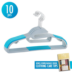10pcs Hanger Sturdy Slim Lightweight Clothes Hangers Holder with 360-degree Swivel Stainless Steel Hooks Non-Slip S-shape Shoulders Anti-Wrinkle Space Saving Design for Shirts Scarfs Suits with Ebook