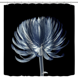 72x72 Shower Curtain Fabric,Black and Blue Xray Flower Modern Watercolor Floral Nature Elegant X-ray Flower Art Print Bath Curtain,Polyester Waterproof Fabric Bathroom Shower Curtain Set,Hooks Include