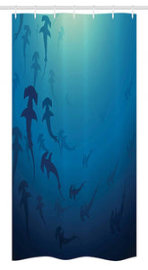 "Ambesonne Sea Animals Stall Shower Curtain, Hammerhead Shark School Scan Ocean Dangerous Predator Wild Nature Illustration, Fabric Bathroom Decor Set with Hooks, 36"" X 72"", White Blue"