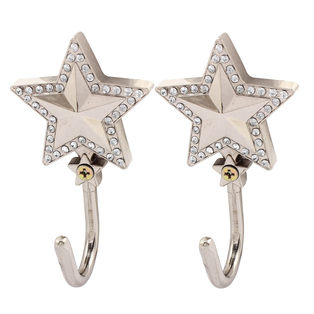 uxcell Artificial Rhinestones Decor Stars Shape Coat Handbag Hook Wall Hanger 2 PCS Silver Tone