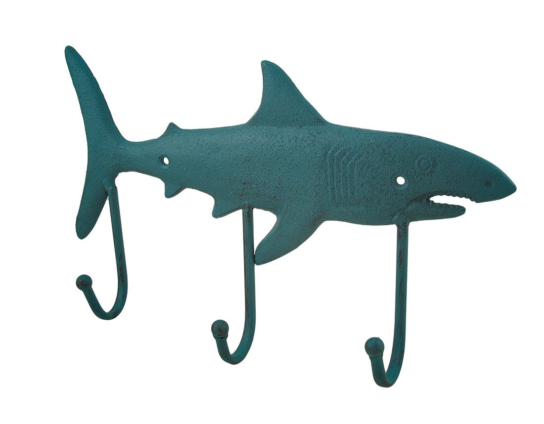 Cast Iron Shark Shaped Verdigris Decorative Wall Hook