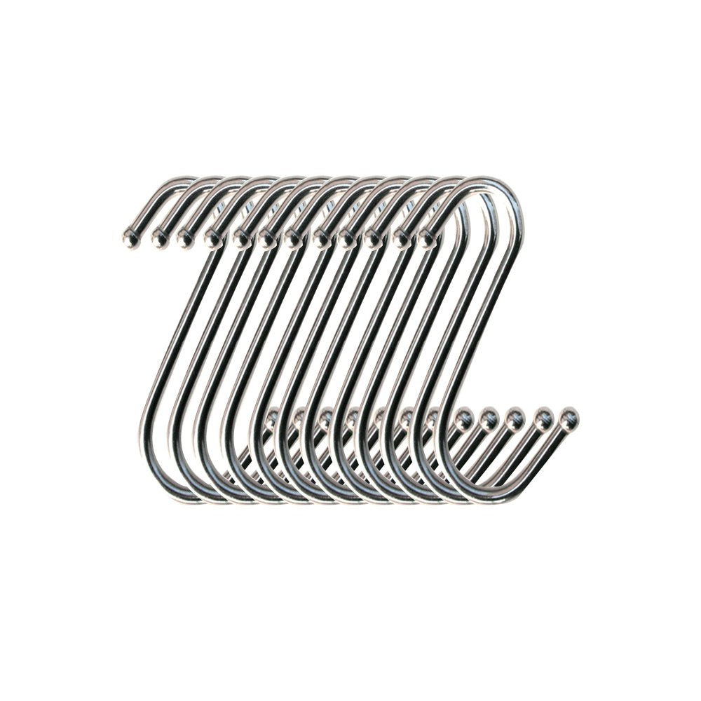 Aprince 12pcs Stainless Steel Hanger Kitchen Cabinet Draw Over Door Hook S Shaped Silver Hanging Hooks Kitchen Pot Pan Hanger (S - Set of 12)