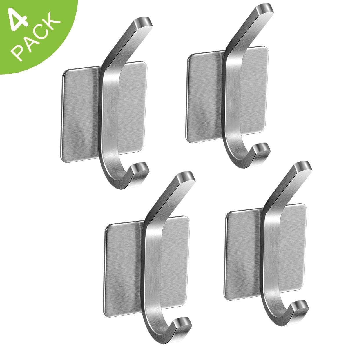 3M Self Adhesive Hooks, JISIMI 304 Stainless Steel Closets Coat Towel Robe Hook Rack Wall Mounted for Kitchen Bathrooms Lavatory Closets (4 Pack)