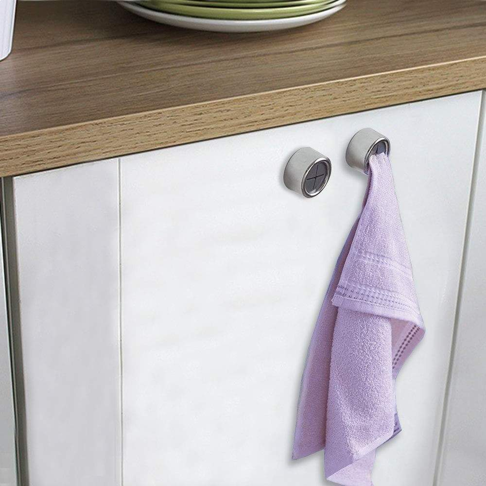 Dreamtop 6 Pack Adhesive Towel Hooks Round Tea Towel Holder Door Wall Mount Hooks Hanger for Kitchen, Bathrooms and Home