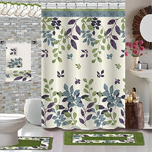 18 Piece High Quality Floral Designs Banded Shower Curtain Bath Set,1,Bath Rug,1 Contour Rug 1, shower curtain 12 Metal Crystal Roller Ball Shower Hooks 3Pcs Matching towel set (Sophia)