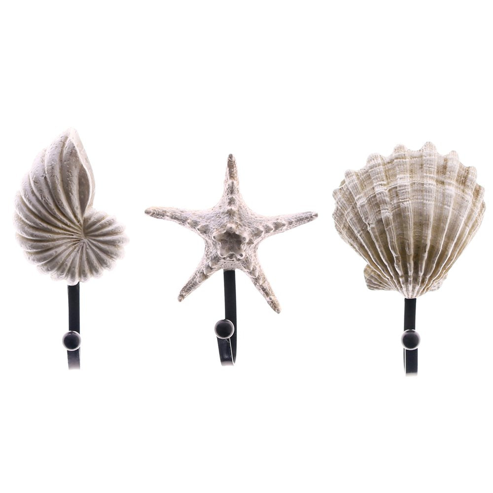 3 Pack Sea Shell Starfish Conch Beach Style Wall Mount Hooks,Oceanic Nautical Decorative Resin Hook Hanger for Keys,Coat,Towel,Hat,Robe (Coastal Design)