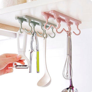 6 Hooks Under Shelf Mugs Cups Wine Glasses Storage Drying Holder Rack Kitchen Organizer Towel Hanger Cabinet Hanging Organizer Rack for Ties And Belts (Green)