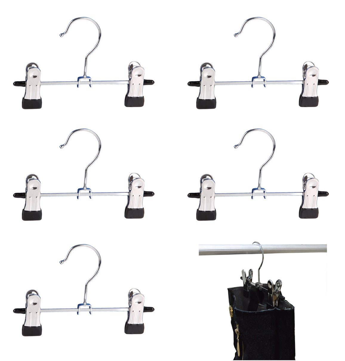 "Adjustable 6"" Double Clip Boot Hanger, Portable Travel Hanging Laundry Hooks, Set of 5"