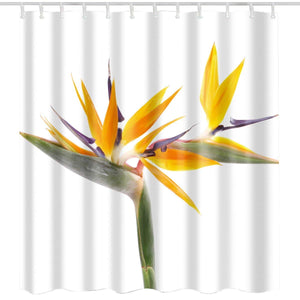 BROSHAN Yellow Fabric Shower Curtain Washable, Spring Fresh Flower Modern Floral Nature Art Print Bath Curtain, Yellow White Polyester Waterproof Bathroom Decor Set with Hooks,72x72 Inch