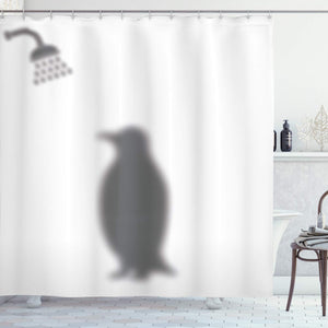 Ambesonne Animals Decor Collection Penguin Shadow Fun Funny Shower Curtain Fabric with Hooks 69 X 70 Inches White Gray