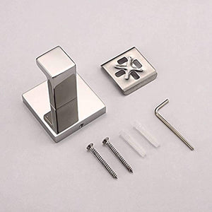 Luxury 304 Stainless Steel Bathroom Single Towel Hook Robe Chrome Wall Mount Coat Hat Door Hook Hanger Mirror Polished Bathroom Accessories 5Pcs (5)