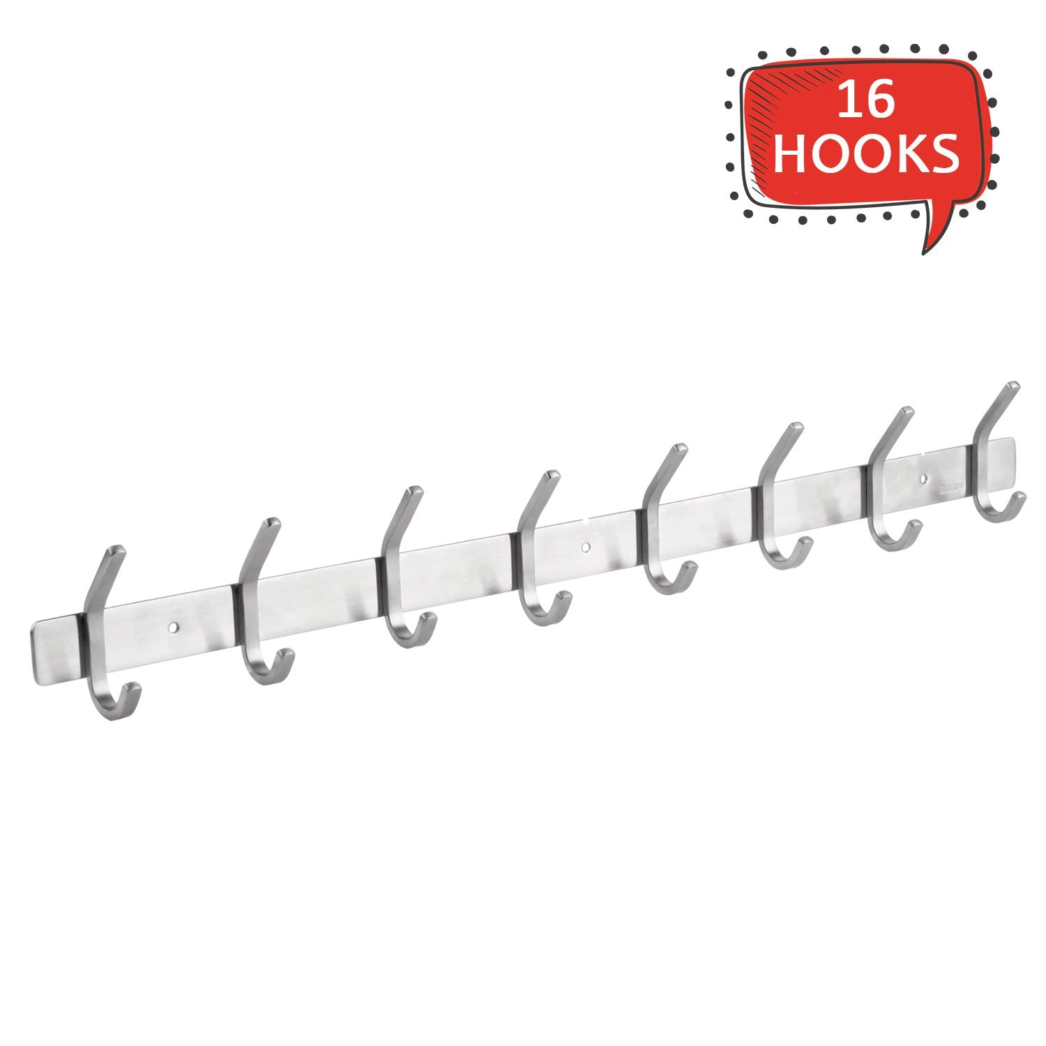amzdeal Coat Hook Rack Wall Mounted Hook Rail Coat Hanger 16 Hooks