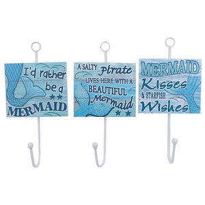 3 Assorted Mermaid Wall Towel Hooks 7 Inches x 3.5 Inches