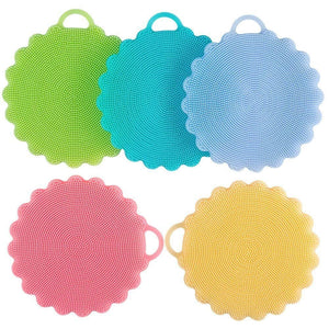 5 Pack Antibacterial Silicone Dish Scrubber Dishwashing Cleaning Brush and 5 Scouring Pads for Bonus, Carnatory Fruit and Vegetable Washer Heat Insulation Pad For Kitchen Wash Pot Pan Dish Bowl