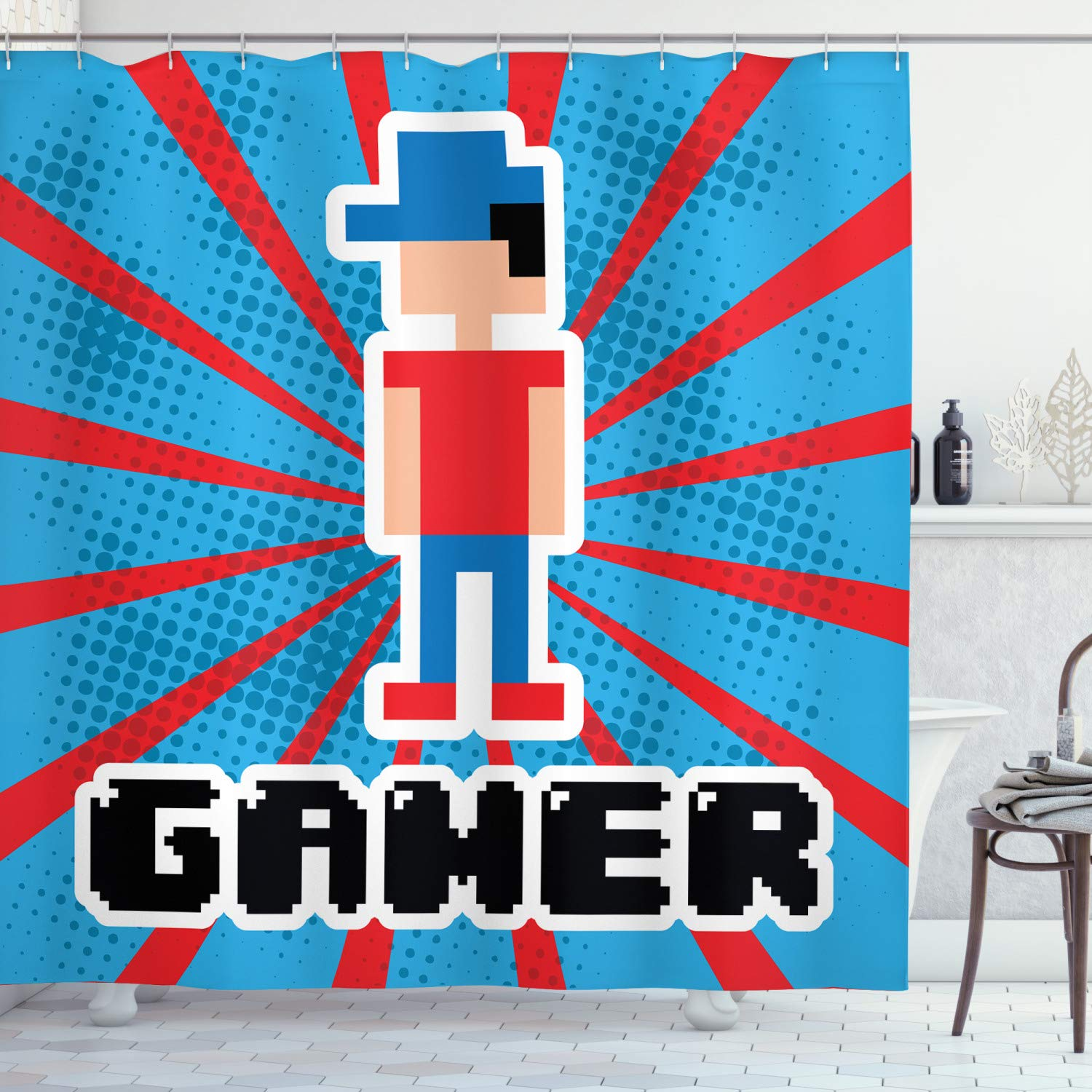 "Ambesonne Video Games Shower Curtain, Blue and Red Striped Boom Beams Retro 90's Toys Boy with Cap, Cloth Fabric Bathroom Decor Set with Hooks, 75"" Long, Vermilion Blue"