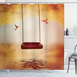 "Ambesonne Hummingbirds Shower Curtain, Red Hammock and Hummingbird in a Peaceful Lake Fantasy Fairytale Scene, Cloth Fabric Bathroom Decor Set with Hooks, 70"" Long, Red Ivory"