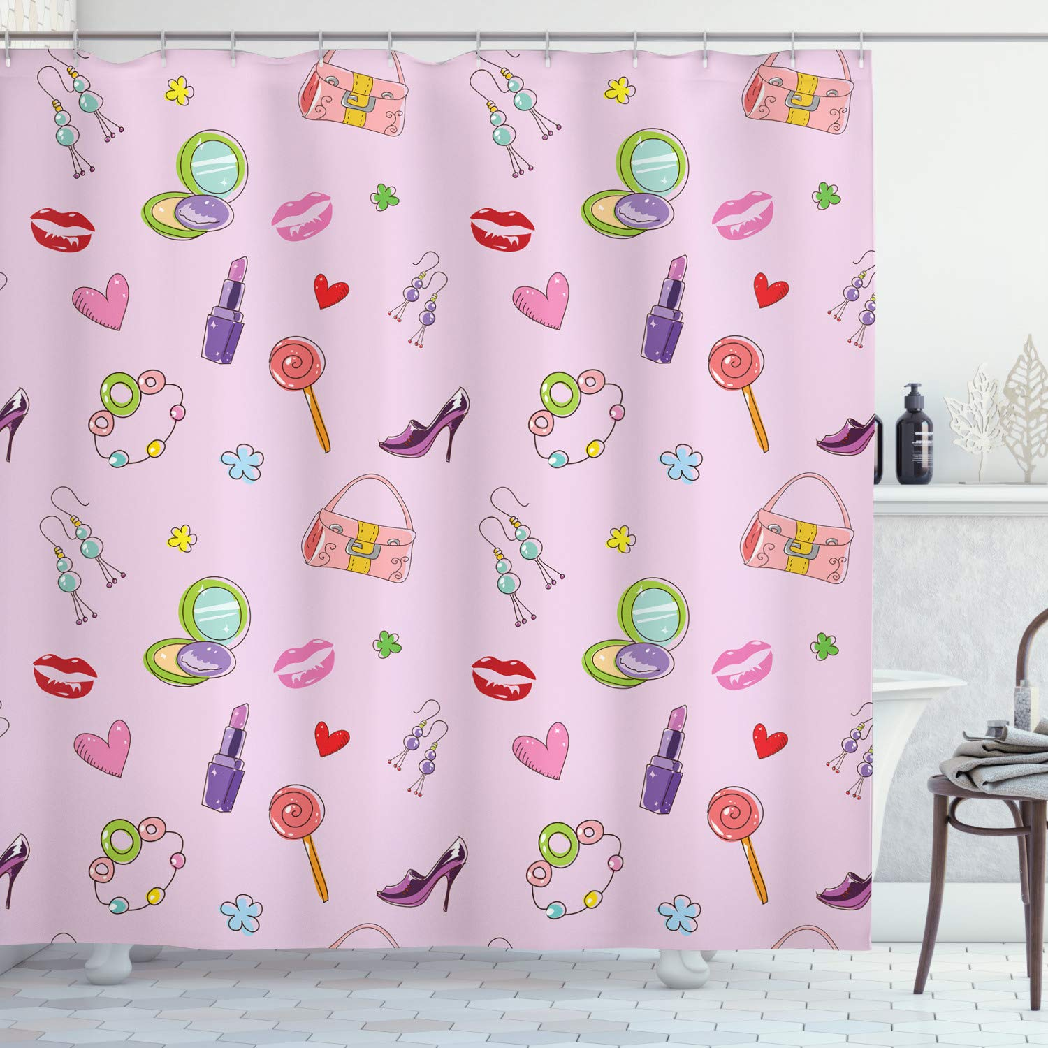 "Ambesonne Princess Shower Curtain, Girls Illustration with Fashion Accessories and Makeup Lollipop Flower Print, Cloth Fabric Bathroom Decor Set with Hooks, 70"" Long, Pink Purple"